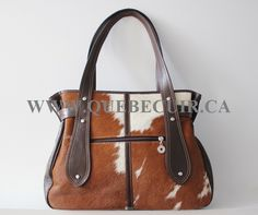 Big Premium cowhide and leather handbag brown and white. CA $287