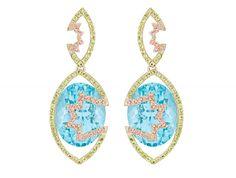 Arya Esha one-of-a-kind Swiss blue topaz earrings