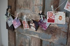 Pretty paper, lace, ribbon, twine, pearls, buttons, etc on plain wooden clothespins make them so pretty for displaying cards or pics.