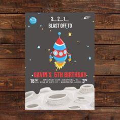 Rocket Invitation PRINTABLE  Birthday by LuLuPaperPrints on Etsy, $7.00