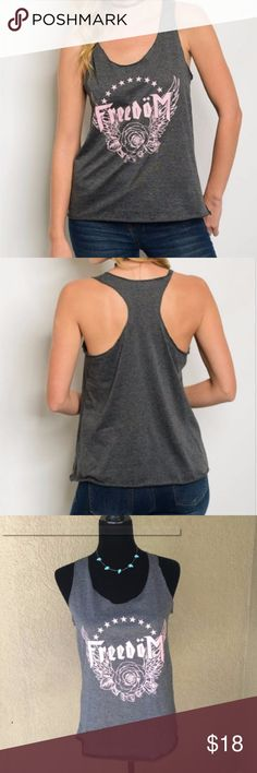 """Popular Basics Freedom GreyPink Tback tank So perfect with its eagle wings, stars, rose and """"Freedom"""" screen print in pink on this charcoal grey t-back tank top! Great for summer!! Small- Bust laying flat pit to pit 17"""", length 24"""" Med- bust 18"""" length 24"""" Large bust 20"""" length 24.5""""  ✅I ship same or next day ✅Bundle for discount Popular Basics Tops Tank Tops"""
