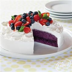 Berries & Cream Cake is made with Funfetti® Bold Purple Cake Mix and ...