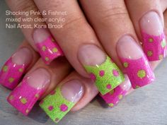 Chic French Nail Art Design With Clear Acrylic Combined With Pink And Green Neon Colors And Some Dots Motif - Acrylic Nail Art Gallery