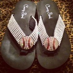 Coming soon to Cocomosoulboutique.com. Rhinestone baseball and softball flip flops!