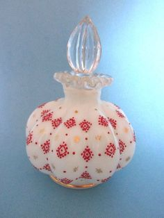 Charleton Hand Painted Fenton Perfume Cologne Bottle W RED & Gold Design. #antique #vintage #scent