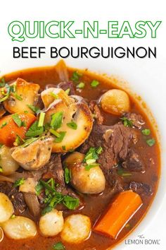 Beef bourguignon is a warm and comforting French stew made with large chunks of beef and vegetables that are stewed in red wine, beef broth, and herbs. The ultimate crowd-pleaser, this make-ahead dish is ideal for entertaining. Easy Beef Bourguignon, Bourguignon Recipe, Beef Stew Meat, Beef Broth, Healthy Soup Recipes, Beef Recipes, French Cooking Recipes, Lemon Bowl, Creamy Mashed Potatoes