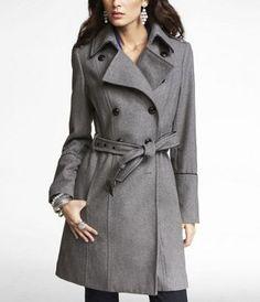 Wool trench coat.