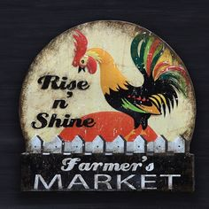 """Rooster """"Rise N Shine"""" Retro Tin Sign"""