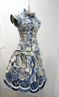 Post with 2245 votes and 125499 views. Tagged with art, cool, awesome, creative, porcelain; Shared by Porcelain Dress. Mannequin Art, Mosaic Art, Blue Mosaic, Blue And White, Fancy, Sculpture, Formal Dresses, Lace Dresses, My Style