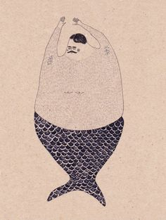 anna maria lubinska cute illustration of a merman