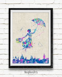 Mary Poppins Disney Watercolor Art Poster Print by NeighborArts