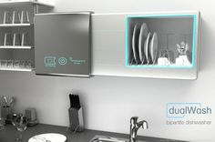 No more unloading the dishes! Dishwasher and cupboard combination concept.