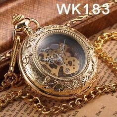 Steampunk Mechanical Pocket Watches Men Vintage Bronze Skeleton Transparent Retro Necklace Pocket & Fob Watch With Chain For Man Skeleton Pocket Watch, Steampunk Pocket Watch, Mechanical Pocket Watch, Silver Pocket Watch, Skeleton Watches, Vintage Pocket Watch, Steampunk Men, Elegant Watches, Stylish Watches