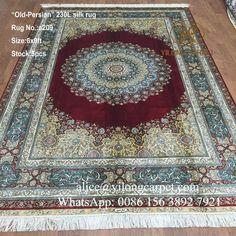 Persian design handmade silk carpet from Yilong Carpet factory. Size: 6x9ft  alice@yilongcarpet.com Whatsapp&viber: 0086 1563 8927 921 www.yilongcarpet.com www.yilongcarpet.myshopify.com