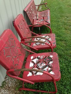 Antique metal glider and 2 chairs
