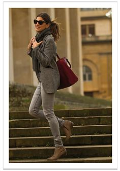 B A LA MODA: look pantalon en color gris