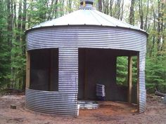 husband birthed his brain-child. Grain bin fire pit at our Upper Peninsula cabin.My husband birthed his brain-child. Grain bin fire pit at our Upper Peninsula cabin. Outdoor Rooms, Outdoor Living, Portable Gazebo, Silo House, Grain Silo, Shed Plans, The Ranch, Outdoor Projects, Upper Peninsula