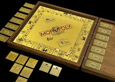 Museum of American Finance President David Cowen and renowned San Francisco-based jewelry designer Sidney Mobell have lately unveiled a Monopoly game set made out of solid gold and encrusted with jewels. Luxurious attention has been paid to every detail. The set of dice alone is worth $10,000, with 42 full-cut diamonds for the number dots.