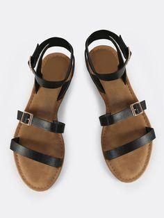 Shop Triple Strap Sandal Flats BLACK online. SheIn offers Triple Strap Sandal Flats BLACK & more to fit your fashionable needs.