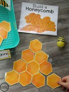 Build a Honeycomb with Shapes - Preschool Dramatic Play Activity #preschool #dramaticplay #dramaticplaycenter #preschoolideas #planningplaytime