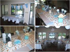 Centerpiece Table Baby Boy Outfits | The decor was done in aqua and brown. We found a great facility that ...