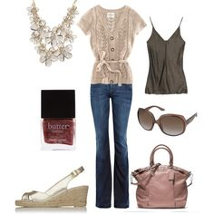 Casual with statement necklace, created by genevievejb on Polyvore