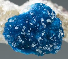 Cavansite topped with Calcite crystals  - Wagholi, India