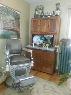late 1800's to early 1900's (probably around 1910) barber chair. This was in my mother's electrolysis office. My dad got it in a barber shop going out of business in downtown Paterson, NJ in the 1960's. Hoosier cabinet circa 1910, scale from Aunt Evelyn's house (prob. from United House Wreckers in Stamford)
