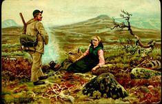 Kunstnerkort BLOCH, ANDREAS. Kartongkort med jeger og dame Utg H. Abel Brukt 1893