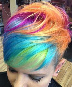 @jules_does_hair Rainbow short dyed hair color blue orange pixie