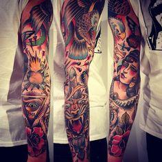 So dope:  moon woman rose eagle arm tattoo neo traditional Alex Dörfler sances one tattoo eye triangle tiger tattoo
