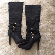 Sam Edelman Boots Black leather stiletto boots. Gold buckle on side, inner zipper for easy on and off.  Size is 6.5 but can fit a size 7 as well. Comfortable for being a high heel boot. Def have lots of life left in them!💃 Sam Edelman Shoes Heeled Boots