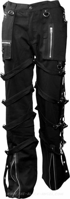 Gothic bondage pants by Queen of Darkness, with straps & zipper detail.