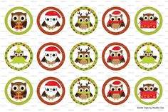 15 Christmas Owls Digital Download for 1 Bottle Caps by MaddieZee, $1.75