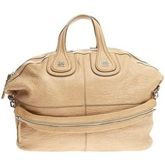 Pre-Owned Givenchy Nightingale Satchel Leather XL ($880) ❤ liked on Polyvore featuring bags, handbags, brown, brown satchel purse, leather handbags, embossed leather handbags, brown purse and brown leather satchel