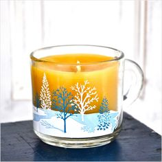 Winter Snow: Beeswax Container Candle, Anchor Hocking Snowy Trees Clear Glass Mug