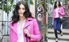 ANDPOP | Look For Less: Emmy Rossum's Spring Leather