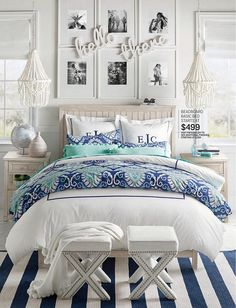 Love this idea for art over the bed - artwork in grid with saying layered on top