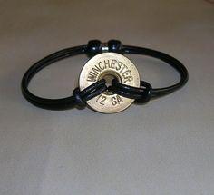 Genuine Leather 12 Gauge Bracelet by Cajleatherdesigns on Etsy Ammo Jewelry, Jewelry Crafts, Jewelery, Jewelry Accessories, Handmade Jewelry, Metal Jewelry, Jewelry Necklaces, Gothic Jewelry, Bullet Crafts