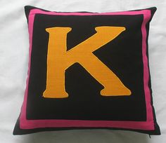 Multicolor-Custom made monogram pillows -18 inches -choose your own colors - custom order