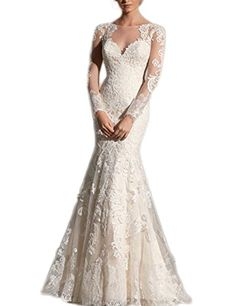Amazon.com  LovingDress Women s Wedding Dress Long Sleeves Mermaid Court  with Applique Dress Size 4 US White  Clothing cf0d84a51