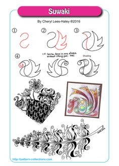 Creative Doodling: The Art of the Zentangle l Tangle Pattern Suwaki by Cheryl Lees-Haley l zendoodle idea l pen and ink drawing Zentangle Drawings, Doodles Zentangles, Doodle Drawings, Doodle Art, Zantangle Art, Zen Art, Zen Doodle Patterns, Zentangle Patterns, Blackwork