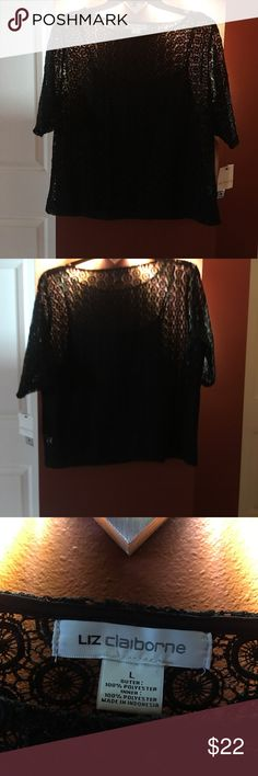 Liz Claiborne 2 shirts in one. New with Tags Beautiful NWT -Black polyester cami with see thru black top shirt. The top shirt is also polyester and has a circular pattern. Liz Claiborne Tops Blouses