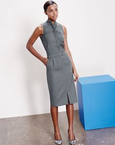 AUG '14 Style Guide: J.Crew women's patch pocket dress in super 120s wool.