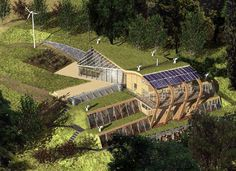 Earth sheltered house with green roof