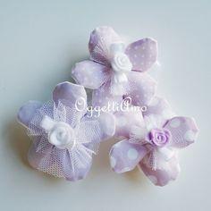 Set di 30 Fiori portaconfetti glicine a pois, quadretti e fiori: una soluzione pastello per le vostre bomboniere shabby chic!
