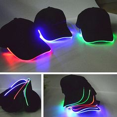 Details about Cool LED Lighted Adjustable Glow Club Party Ba.- Details about Cool LED Lighted Adjustable Glow Club Party Baseball Hip-Hop Fabric Hat Cap Cool Led Lighted Adjustable Glow Club Party Baseball Hip-Hop Fabric Hat Cap - Glow Stick Party, Glow Sticks, Cool Baseball Caps, Baseball Hats, Baseball Fashion, Mode Outfits, Dance Outfits, Sport Outfits, Light Up Hats
