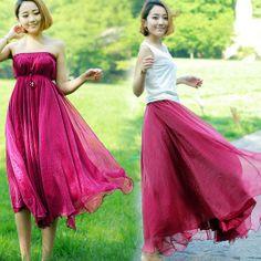 Amazon.com: Zehui Womens Full Circle Chiffon Long Maxi Skirt Pleated Long Dress Boho Beige: Clothing