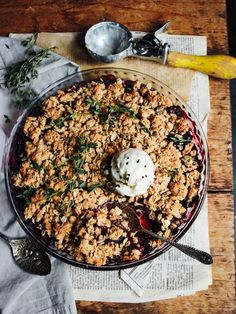 Blackberry Blueberry Peanut Butter Thyme Crisp - Rebel Recipes