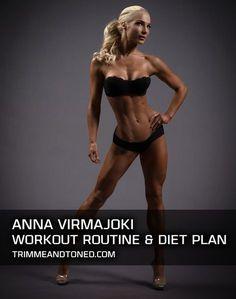 Fitness model diet plan - IFBB Bikini Pro Anna Virmajoki's Full Workout Routine & Diet Plan – Fitness model diet plan Fitness Model Diet, Bikini Fitness Models, Women Fitness Models, Fitness Competition Diet, Bikini Competition Training, Bikini Models, Bodybuilder, Fitness Inspiration, Model Diet Plan
